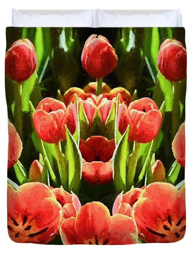 Flower Duvet Cover featuring the photograph Tulips by Ray Warren