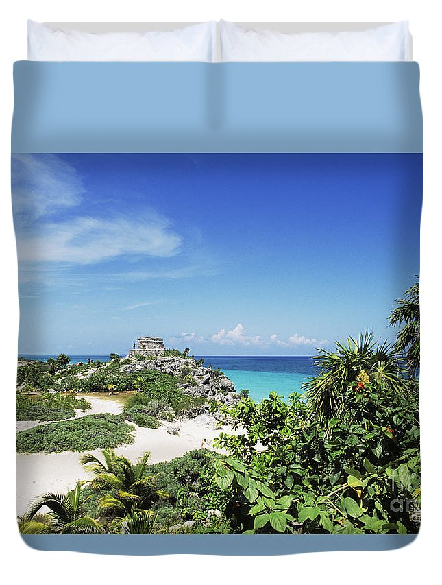 Ancient Duvet Cover featuring the photograph Tulum Ruins by Bill Bachmann - Printscapes