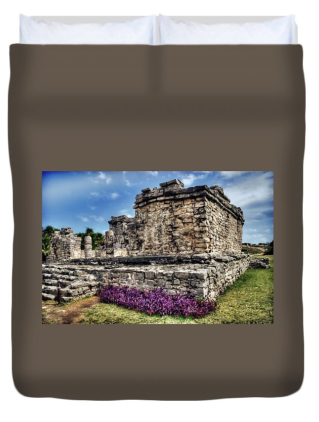 Tulum Duvet Cover featuring the photograph Tulum Temple Ruins by Tammy Wetzel