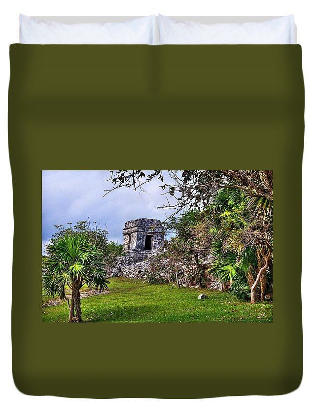Tulum Duvet Cover featuring the photograph Tulum Watchtower by Tammy Wetzel
