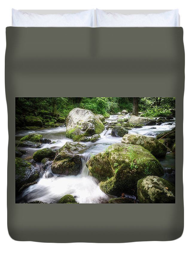 Landscape Duvet Cover featuring the photograph Tumbling Creek by Jim Love