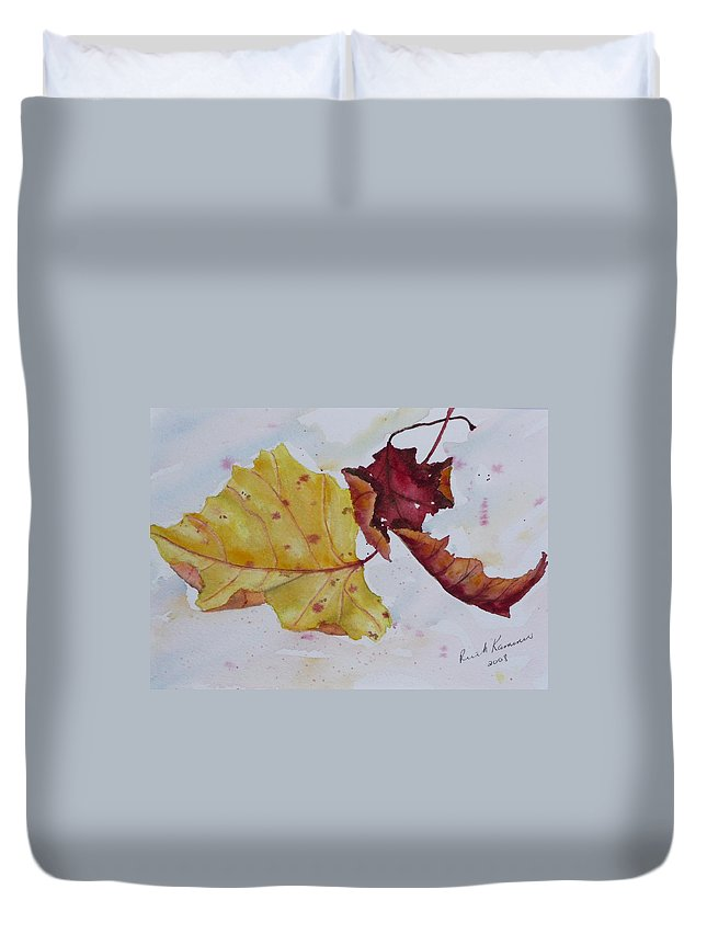 Fall Duvet Cover featuring the painting Tumbling by Ruth Kamenev
