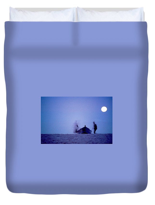Moon Duvet Cover featuring the photograph Tunesian Night by Michael Mogensen