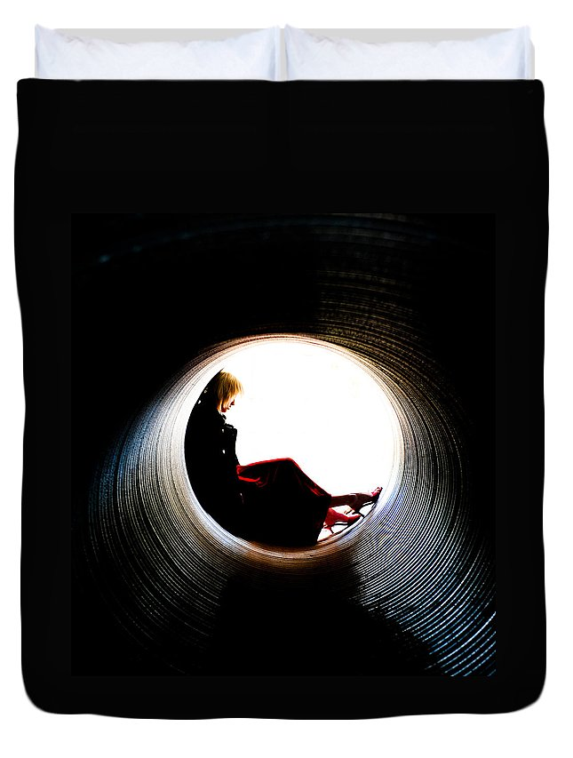 Woman Duvet Cover featuring the photograph Tunnel by Scott Sawyer