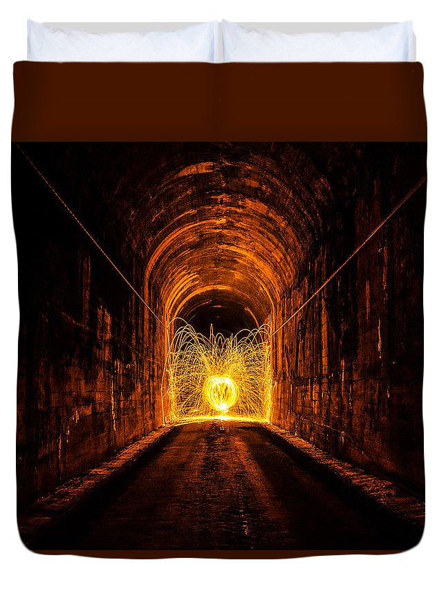 Long Exposure Sparks Shooting Tunnel Burning Steel Wool Duvet Cover featuring the photograph Tunnel Sparks by Pelo Blanco Photo