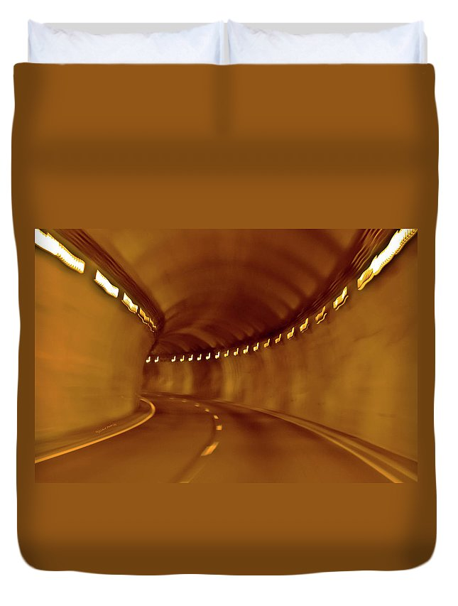 Tunnel Duvet Cover featuring the digital art Tunnel Vision Daze by DigiArt Diaries by Vicky B Fuller