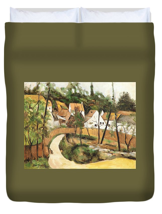 Cezanne Duvet Cover featuring the painting Turn In The Road Reproduction Of Cezannes Work. by Ekaterina Mortensen