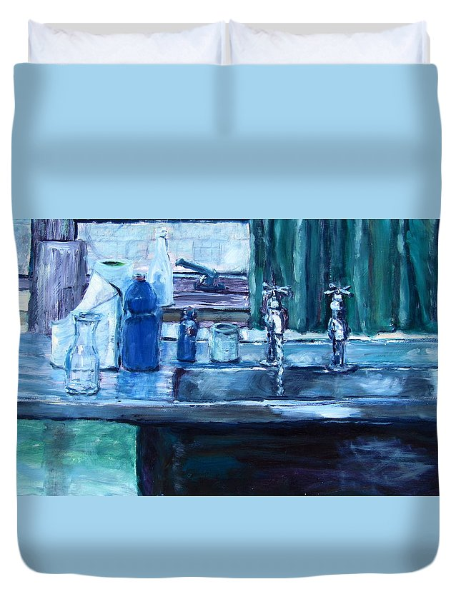 Artists Working Sink Duvet Cover featuring the painting Turn That Tap Off Please by Errol Jameson