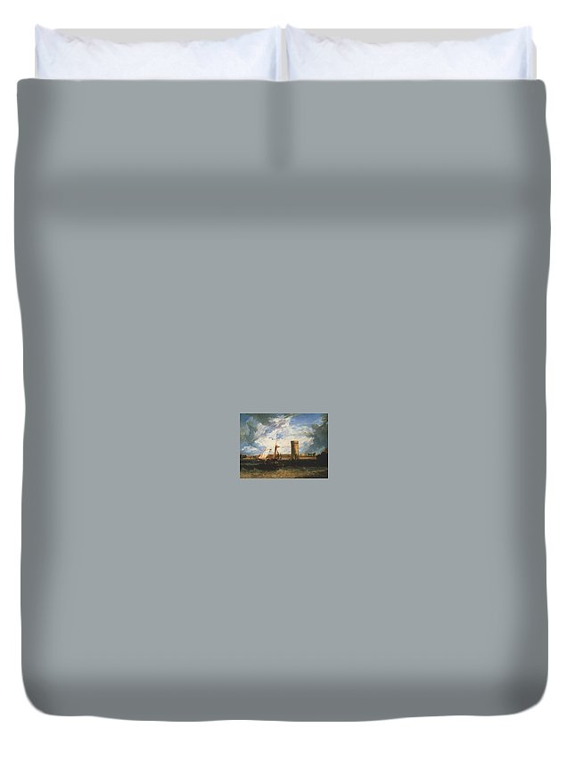 Vessel Duvet Cover featuring the digital art Turner Joseph Mallord William Tabley The Seat Of Sir Jf Leicester Joseph Mallord William Turner by Eloisa Mannion