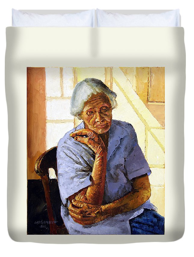 Old Woman Duvet Cover featuring the painting Turning Inward by John Lautermilch