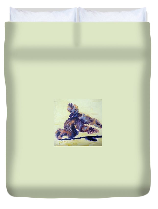 Art Duvet Cover featuring the painting Turning On A Dime by Terry Chacon