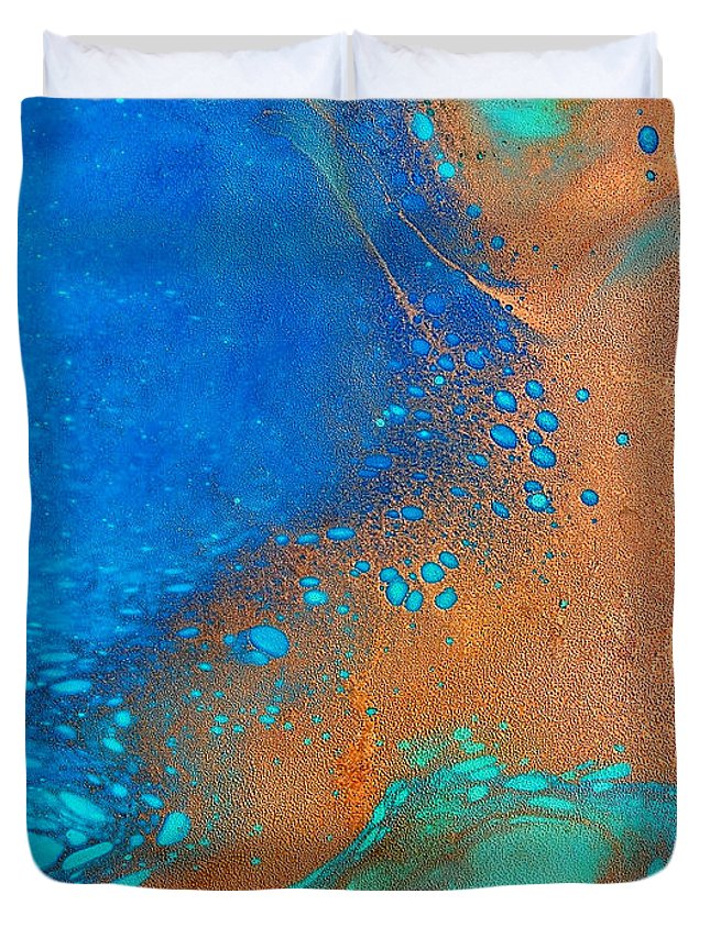 Abstract Duvet Cover featuring the painting Turquoise Cove by Dallas Dubois
