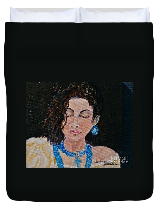 Turquoise Duvet Cover featuring the painting Turquoise Lady 1 by Donna Steward
