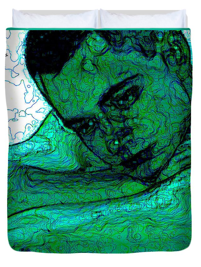 Abstract Duvet Cover featuring the digital art Turquoise Man by Stephen Lucas