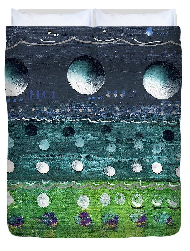 Abstract Duvet Cover featuring the painting Turquoise Moons by Jane Miles