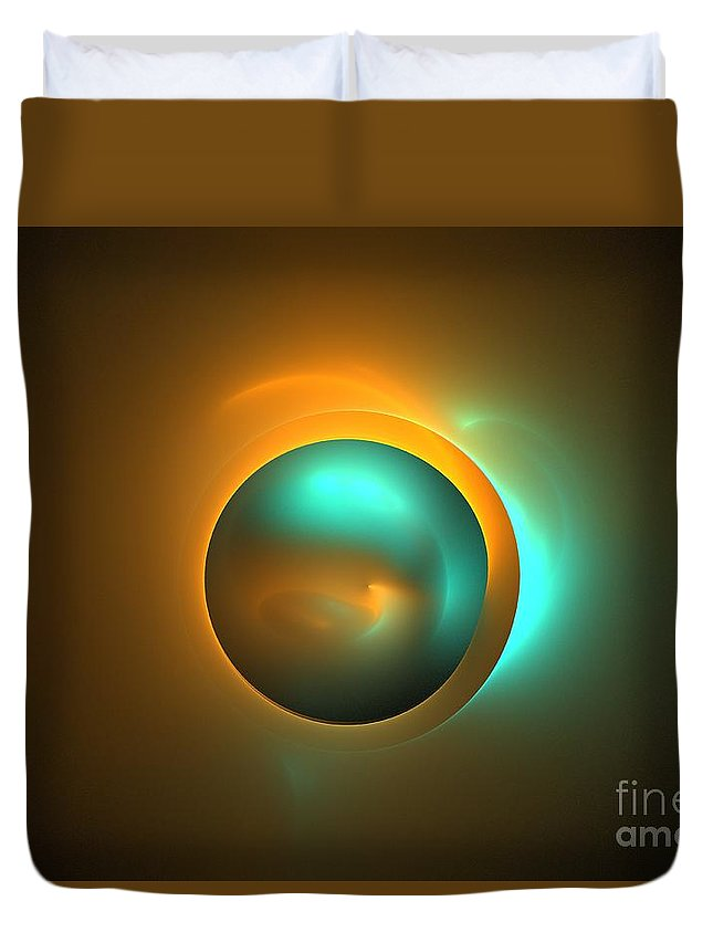 Apophysis Duvet Cover featuring the digital art Turquoise Sun by Kim Sy Ok