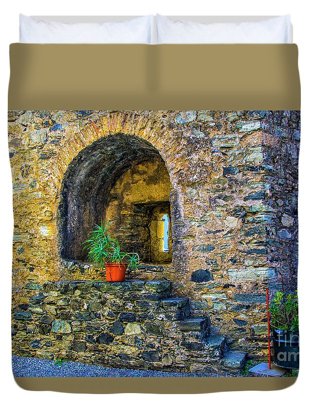 Braganca Duvet Cover featuring the photograph Turret Window by Roberta Bragan