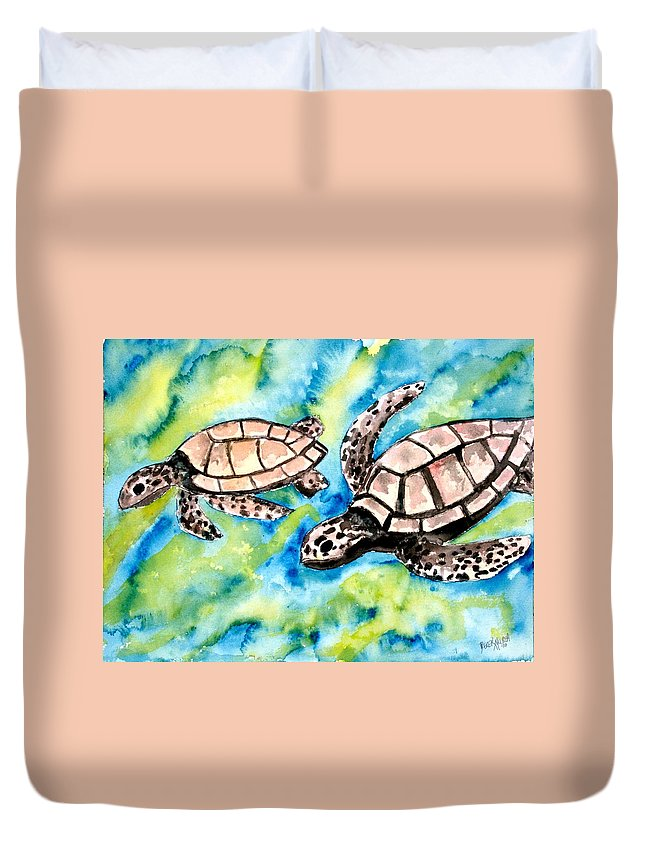 Love Duvet Cover featuring the painting Turtle Love Pair Of Sea Turtles by Derek Mccrea