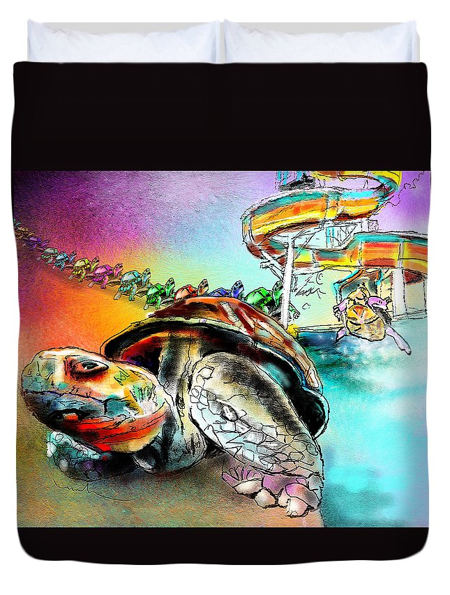 Turtle Duvet Cover featuring the painting Turtle Slide by Miki De Goodaboom