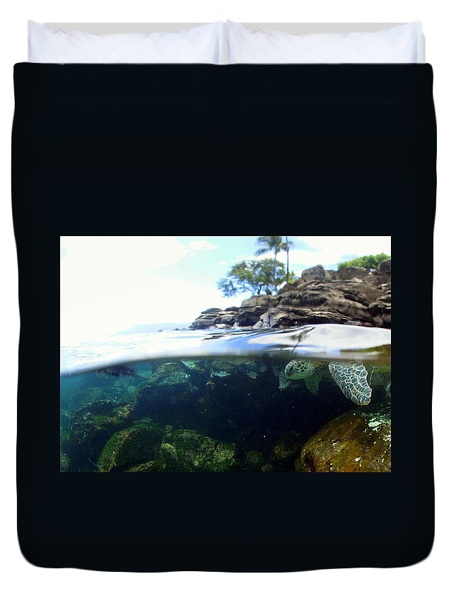 Duvet Cover featuring the photograph Turtle Tide by Todd Hummel