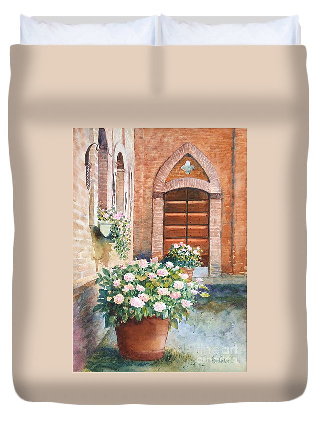 Tuscan Duvet Cover featuring the painting Tuscan Courtyard by Ann Cockerill