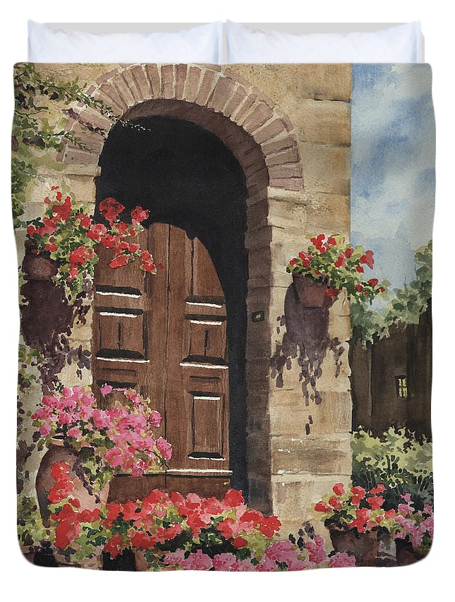 Flowers Duvet Cover featuring the painting Tuscan Door by Sam Sidders