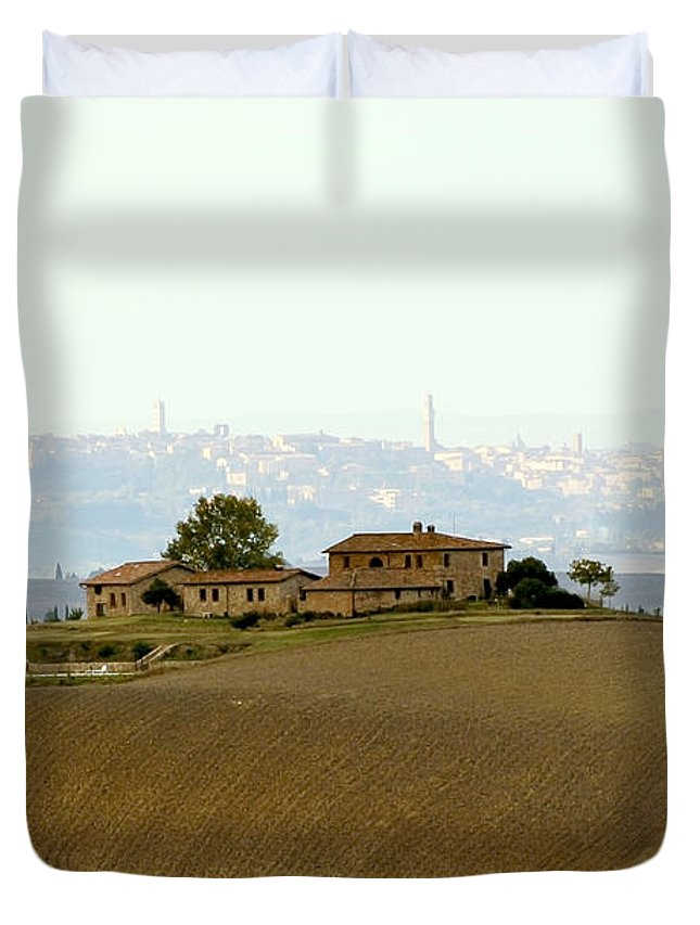 View Duvet Cover featuring the photograph Tuscan Farm House With The City Of Siena On The Background by Nannie Van der Wal