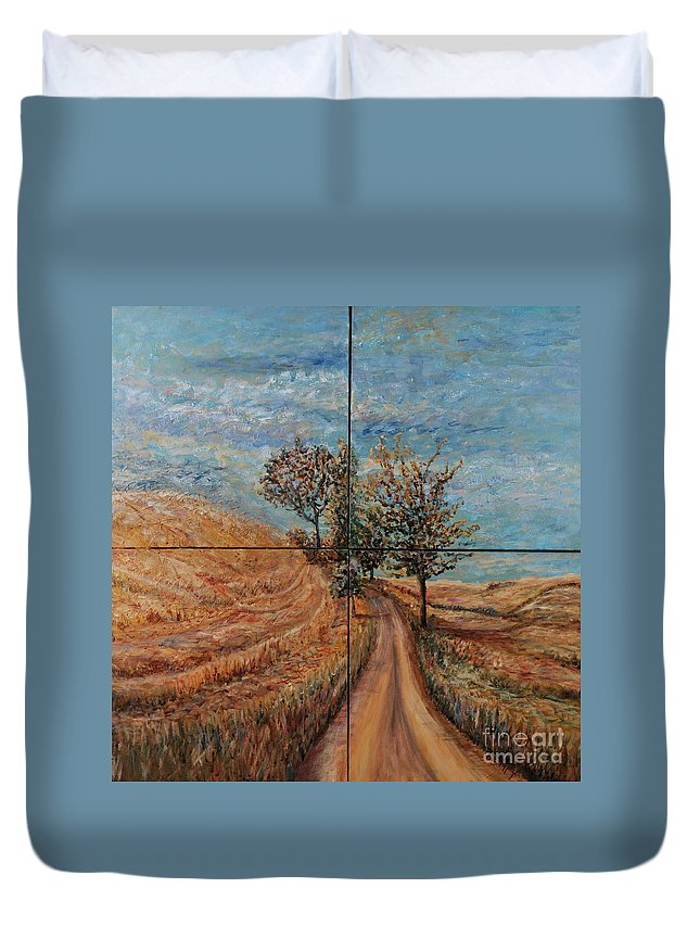 Landscape Duvet Cover featuring the painting Tuscan Journey by Nadine Rippelmeyer