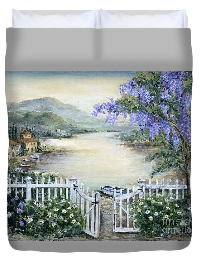 Tuscany Duvet Cover featuring the painting Tuscan Pond And Wisteria by Marilyn Dunlap