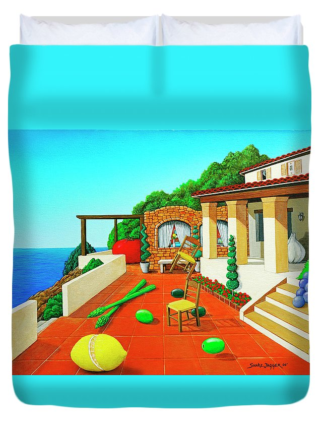 Tuscan Duvet Cover featuring the painting Tuscan Vacation by Snake Jagger