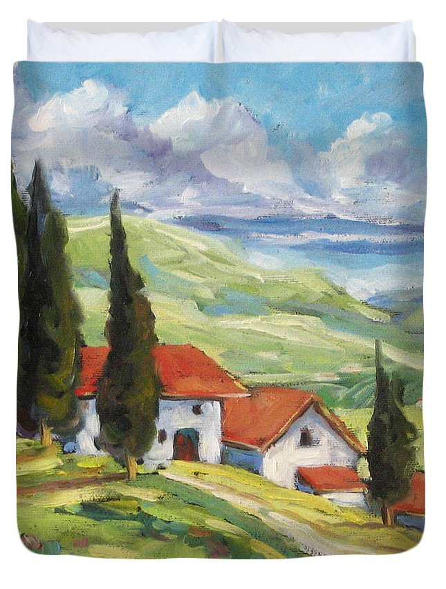 Tuscan Duvet Cover featuring the painting Tuscan Villas by Richard T Pranke