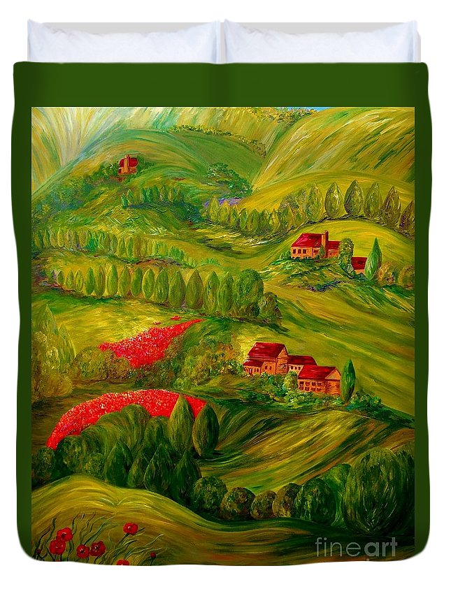 Tuscany Duvet Cover featuring the painting Tuscany At Dawn by Eloise Schneider Mote