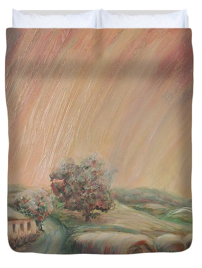 Landscape Duvet Cover featuring the painting Tuscany Hayfields by Nadine Rippelmeyer