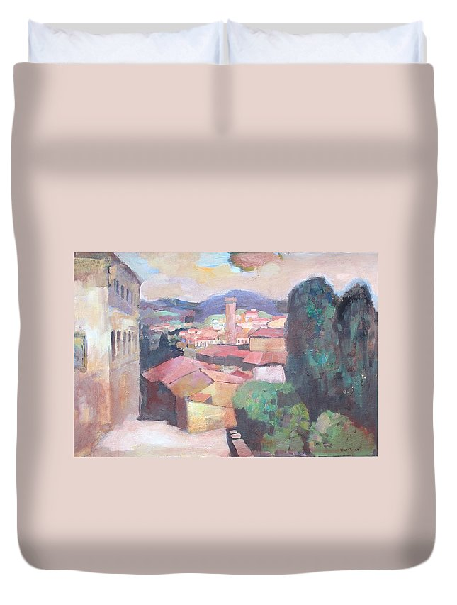 Italy Duvet Cover featuring the painting Tuscany by Murat Kaboulov