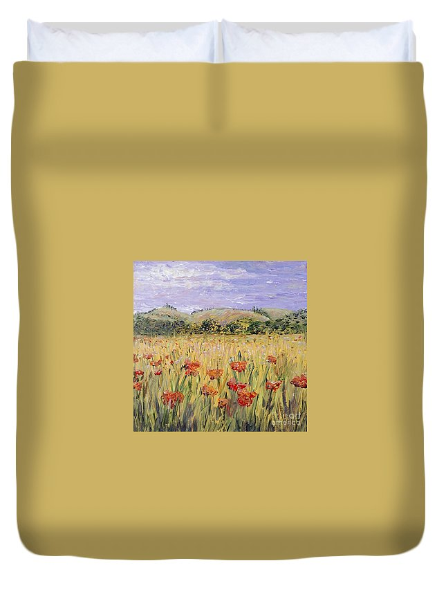 Poppies Duvet Cover featuring the painting Tuscany Poppies by Nadine Rippelmeyer