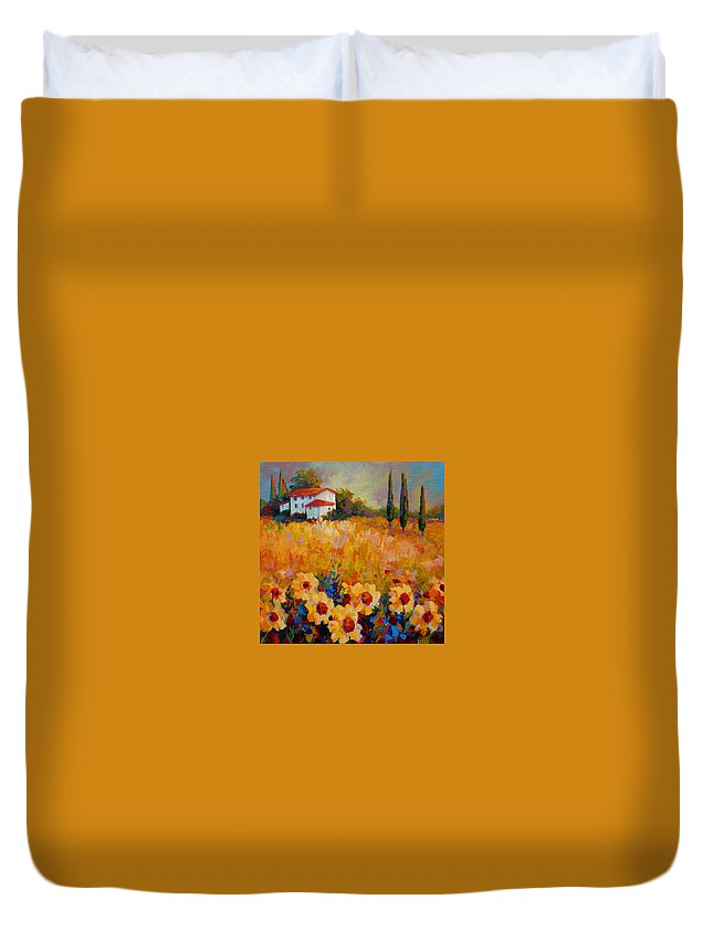 Tuscany Duvet Cover featuring the painting Tuscany Sunflowers by Marion Rose