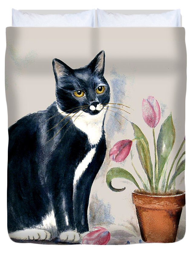 Cat Duvet Cover featuring the painting Tuxedo Cat Sitting By The Pink Tulips by Frances Gillotti