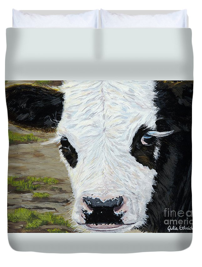 Cow Duvet Cover featuring the painting Tuxedo by Julie Ethridge