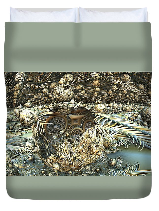 Fractal Landscape Duvet Cover featuring the digital art Tw 140 by Kaleb Larsen