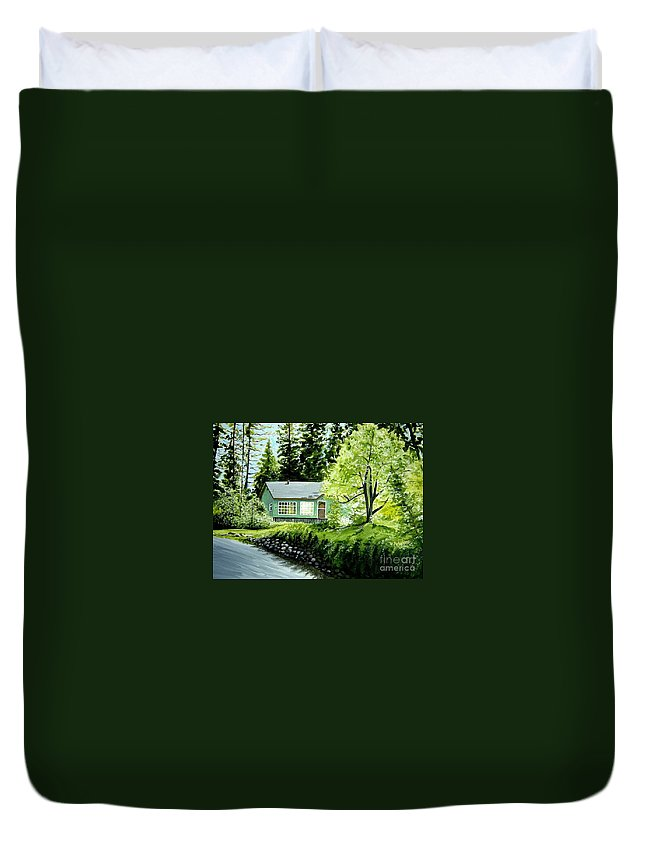 Landscape Duvet Cover featuring the painting Twaine Harte by Elizabeth Robinette Tyndall