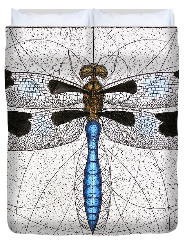 Dragonfly Duvet Cover featuring the painting Twelve Spotted Skimmer by Charles Harden