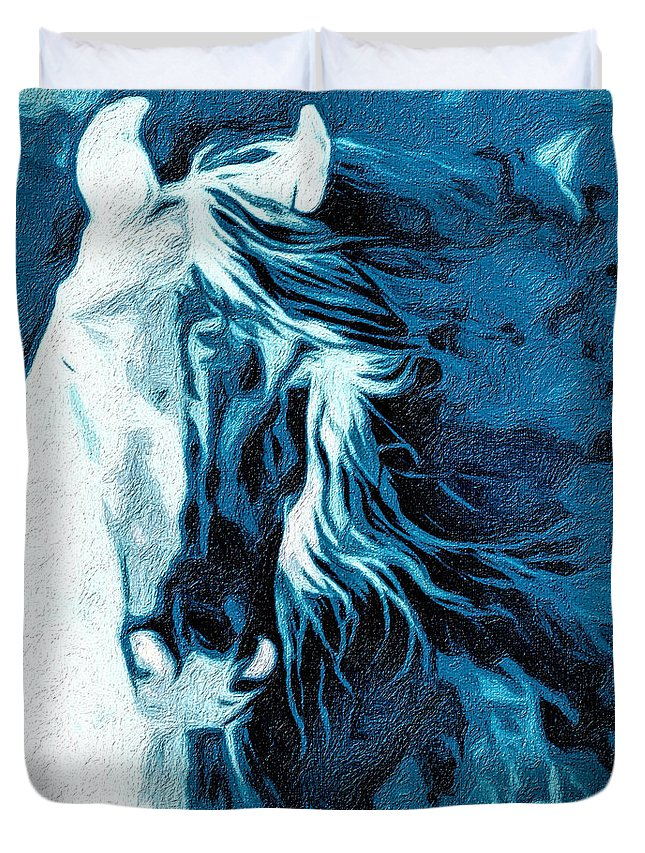 Horse Duvet Cover featuring the digital art Twilight At Alcalde by Terry Fiala