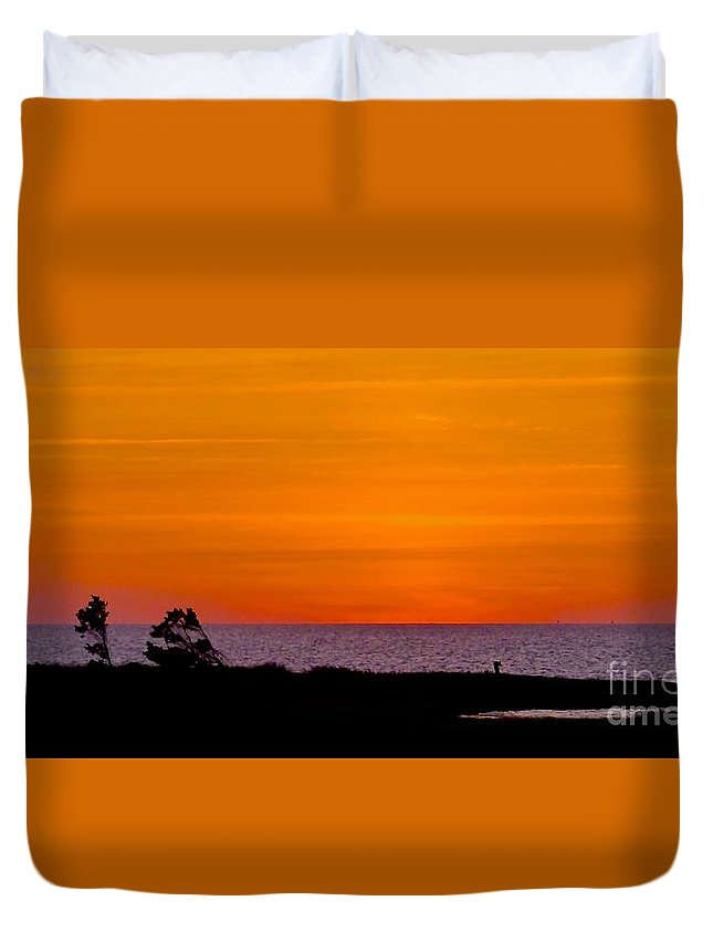 Sunset Duvet Cover featuring the photograph Twilight At Pamlico Sound by Jean Wright