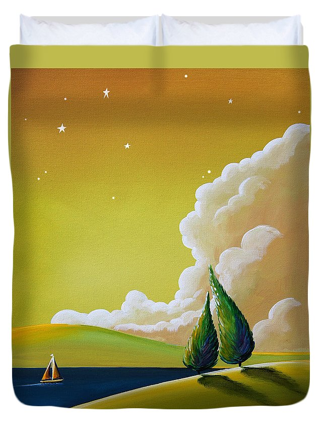 Trees Duvet Cover featuring the painting Twilight Bay by Cindy Thornton