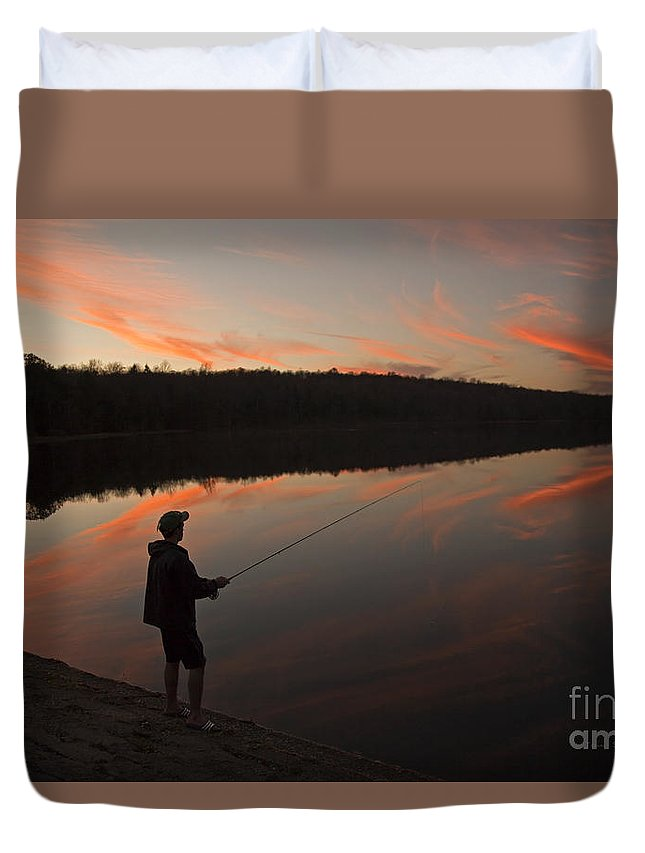 Twilight Duvet Cover featuring the photograph Twilight Fishing Delight by John Stephens