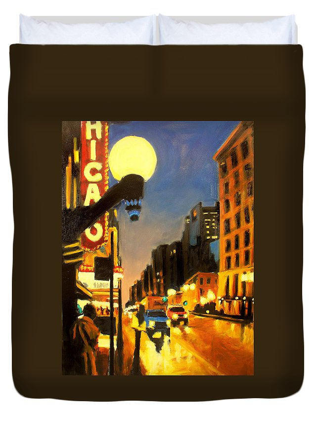 Rob Reeves Duvet Cover featuring the painting Twilight In Chicago - The Watcher by Robert Reeves