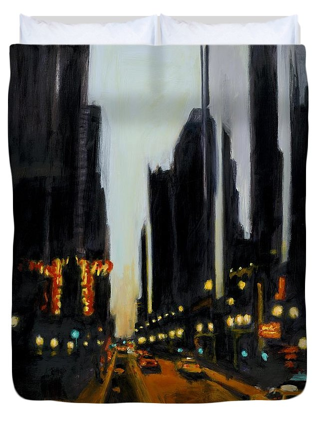 Rob Reeves Duvet Cover featuring the painting Twilight In Chicago by Robert Reeves