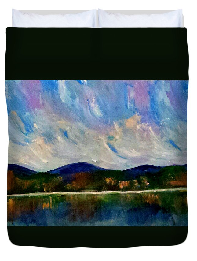 Landscape Duvet Cover featuring the painting Twilight Larger Options by Nikki Dalton