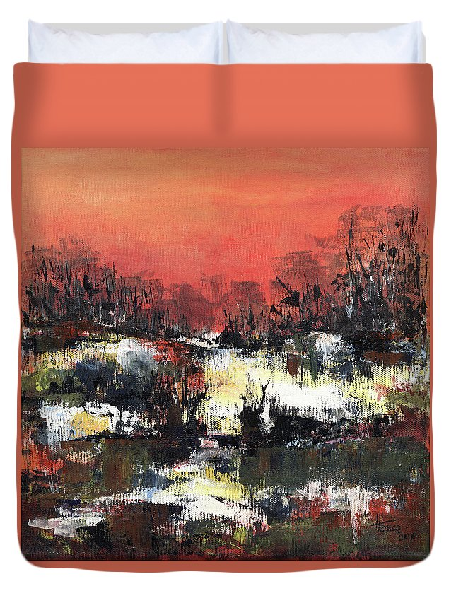 Abstract Duvet Cover featuring the painting Twilight Madness by Aniko Hencz