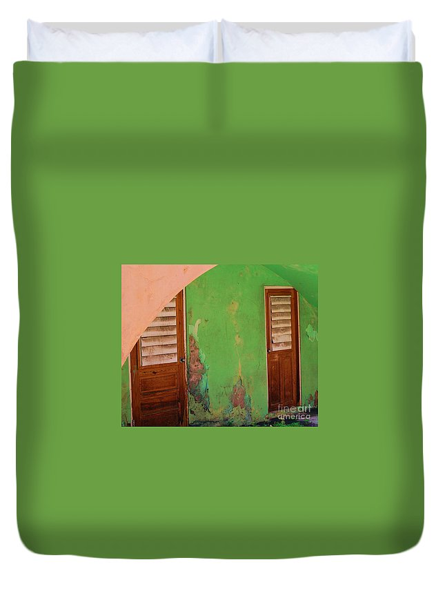 Doors Duvet Cover featuring the photograph Twin Doors by Debbi Granruth